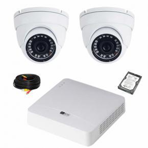 Kit de vidéosurveillance 2 dômes 720P WBOX avec disque dur