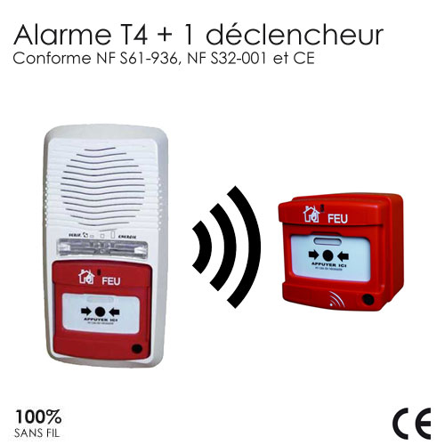 alarme type 4 radio avec 1 d clencheur protection incendie pour la maison. Black Bedroom Furniture Sets. Home Design Ideas