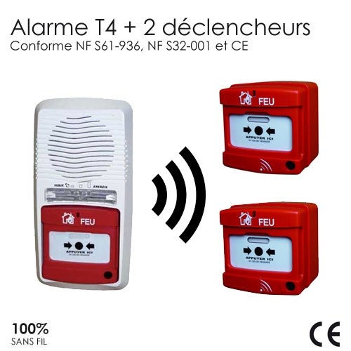 Alarme type 4 radio avec 2 d clencheurs protection for Alarme maison securite good deal