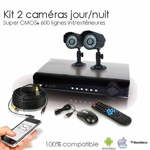 kit de videosurveillance 2 cameras super cmos. Black Bedroom Furniture Sets. Home Design Ideas