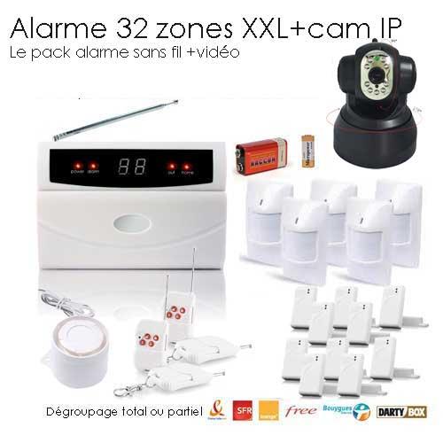 kit alarme de maison 32 zones xxl box et camera ip toutes les alarmes de maison sans fil. Black Bedroom Furniture Sets. Home Design Ideas