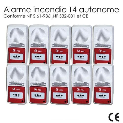 pack 10 alarmes type 4 autonome pile alarme incendie incendie. Black Bedroom Furniture Sets. Home Design Ideas