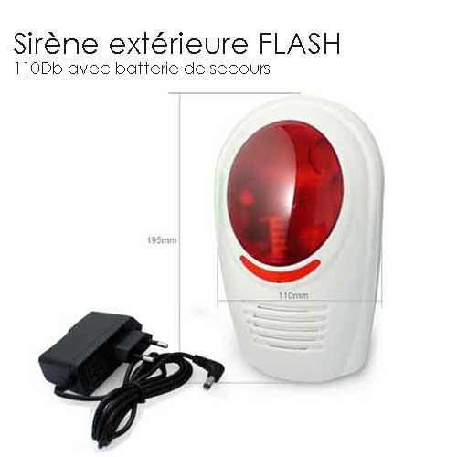 Sirene alarme exterieure gx avec flash completer mon - Sirene alarme exterieure sans fil ...
