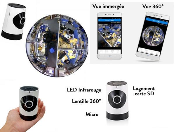 camera ip de surveillance connectee fisheye 185 wifi. Black Bedroom Furniture Sets. Home Design Ideas