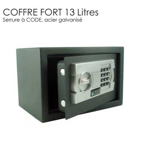 coffre fort hotel 13l code acier galvanise coffre fort. Black Bedroom Furniture Sets. Home Design Ideas