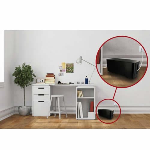 coffret de rangement c bles et multiprises taille moyenne noir connectique pour alarme et. Black Bedroom Furniture Sets. Home Design Ideas