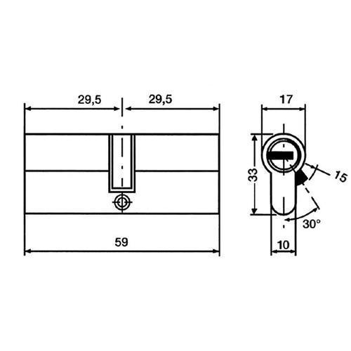 Cylindre de s curit double entr e 60mm serrures et - Cylindre serrure dimension ...
