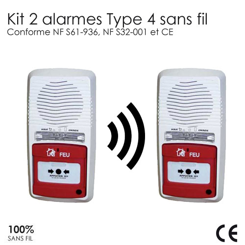 2 x alarmes type 4 radio pile protection incendie pour. Black Bedroom Furniture Sets. Home Design Ideas