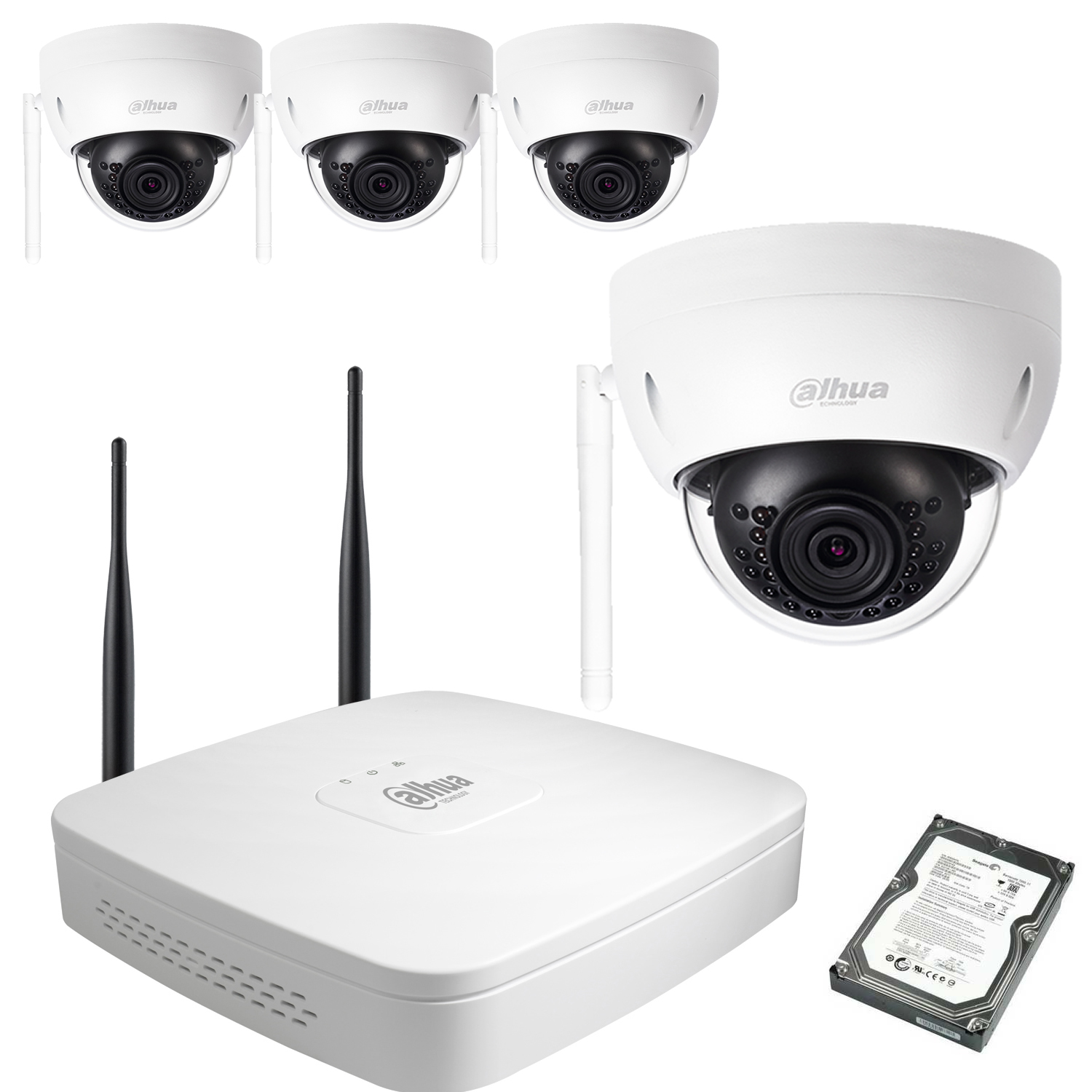 kit video wifi dahua 4 domes 1mp vid o surveillance analogique hd. Black Bedroom Furniture Sets. Home Design Ideas