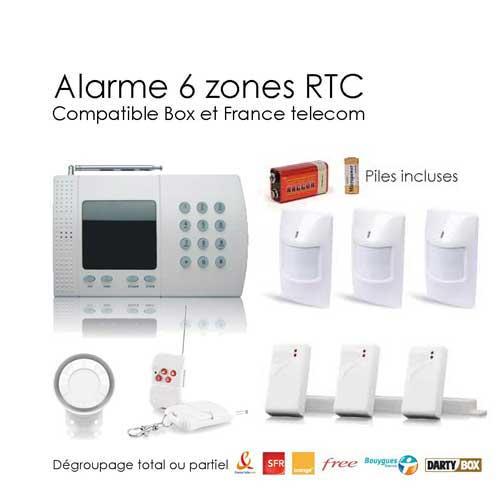 kit alarme sans fil de 6 zones large box toutes les. Black Bedroom Furniture Sets. Home Design Ideas