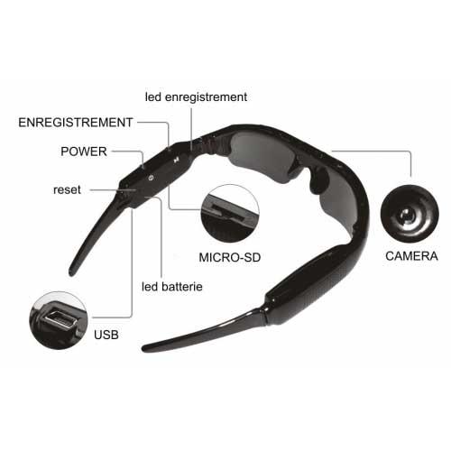 Lunette camera 16GO, lunette espion solaire   Camera espion ... 917e6ad4f32a